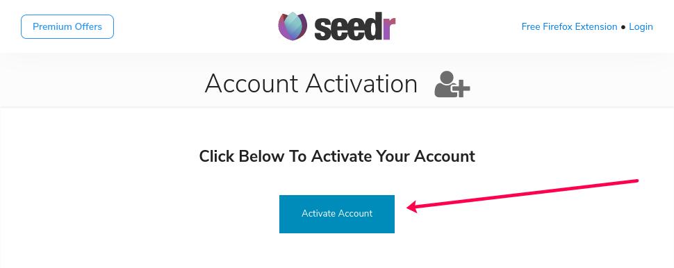 Seedr site activation button