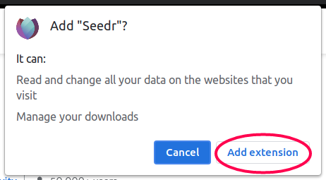 Confirm add  to chrome button